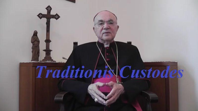 «Mgr» Vigano prend la parole en Français sur le Motu Proprio Traditionis Custodes
